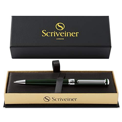 Luxury Pen by Scriveiner London - Stunning British Racing Green Ballpoint Pen, Chrome Finish, Schmidt Black Refill, Best Ball Pen Gift Set for Men & Women, Professional, Executive Office, Nice Pens