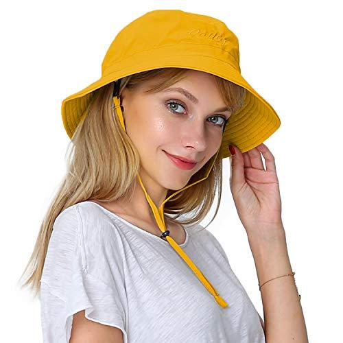 PULI Women UV Protection Sun hat Foldable Rain Bucket hat Showerproof...
