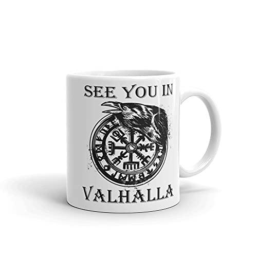 Taza vikinga con texto en inglés 'See you in Valhalla Rabe Odin Ragna Thor'