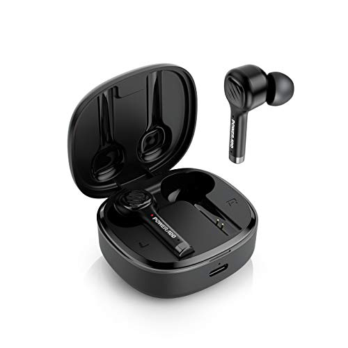 True Wireless Earbuds Bluetooth with Dual Microphones CVC8.0 Noise Cancelling, POWERADD M6 TWS Earbuds BT 5.0 with Charging Case Ergonomic bass in-Ear Headphones, Earphones for iPhone/Android, Black
