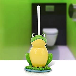 Toilet Brush Set Bathroom Toilet Bowl Brushes Toilet Brush and Holder Cartoon Lotus Leaf Frog Toilet Cleaning Utensil Strong Sturdy, Yue WenMing