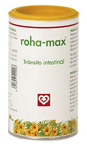 Roha MAX - Complemento alimenticio para regular tránsito intestinal, bote 130 g, hojas de sen, aromas de hibisco, regaliz y menta, masticable o infusión, FAES FARMA