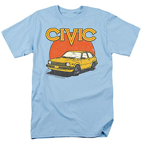 Honda Vintage Distressed Civic T Shirt & Stickers (Medium) Light Blue