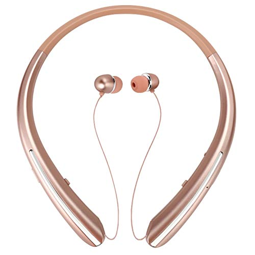 Bluetooth Retractable Headphones Wireless Headset Neckband Earbuds Sports Noise Cancelling Stereo Earphones with Mic (15 Hrs Playtime, 2020 Upgrade, Rose)