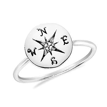 AeraVida Wanderer's Compass .925 Sterling Silver Ring  9