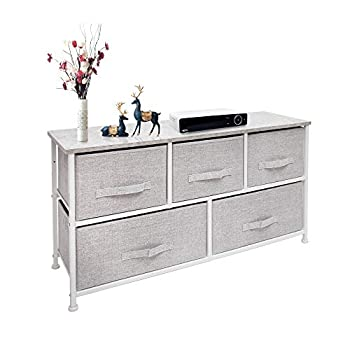 East Loft Extra Wide Storage Cube Dresser Organizer for Closet Nursery Bathroom Laundry or Bedroom 5 Fabric Drawers Solid Wood Top Durable Steel Frame Light Grey