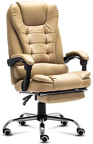 DGHJK Bürostuhl, Ergonomischer Home-Office-Stuhl, Liegestühle | Ledersessel Mit Fußstütze | Computertisch Mit Hoher Rückenlehne | Hohe Tragfähigkeit