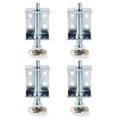 QWORK 4 Pack Adjustable Leveler Leveling Feet with U-Bracket for Furniture, Tables, Capacity to 500lbs