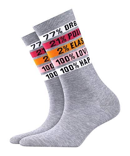 BURLINGTON Damen Socken Happiness, Baumwollmischung, 1 Paar, Grau (Light Grey 3400), Größe: 36-41