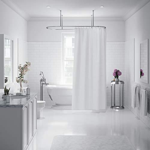 Duschvorhang, Stoff, dunkelgrau, 180cm x 200cm,Weiß,Enthält nicht 12 Haken