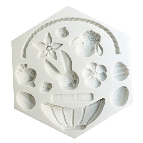 JKKJ 3D-Silikonform mit Hasenkorb, Blumeneier-Muster, Backform, Schokoladengebäck, Kuchen, Muffins, Eiswürfel, Seife, Keksform