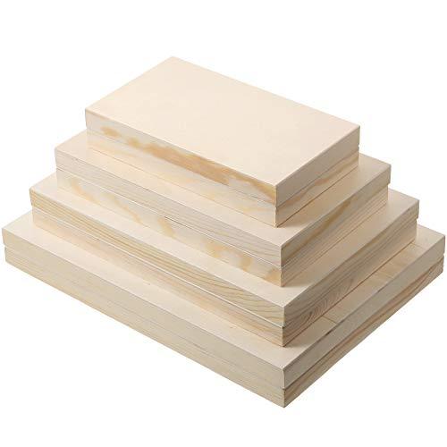 8 Pezzi Dimensione Assortita Tela di Legno Non Finita, Tela in Legno Vuoto Quadrato Pannelli di Tela Cullati (11 x 8 Pollici, 9,8 x 6,5 Pollici, 8,5 x 5,3 Pollici, 7 x 4 Pollici)