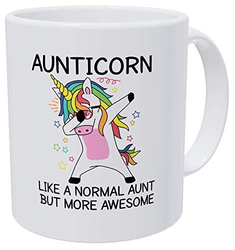 Aunticorn Aunts, More Awesome Aunt Funny Dance Unicorn - Tazas de café blancas para mujer (325 ml)
