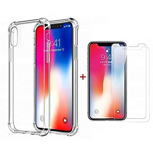 DYGG kompatibel mit hülle für iPhone X Hülle Handyhülle Luftkissen Weich TPU Silikon Schale Durchsichtige Schutzhülle Handy Case+2*Displayschutzfolie