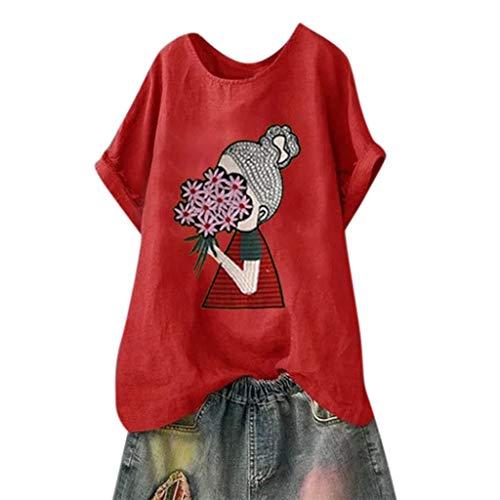 CUTUDE Chemisier Manches Courtes T-Shirts Imprimé Fille Été Col Round Coton et Lin Tops Polo Gilet Tunic Chemise Tunique, Grande Taille (M, Rouge)