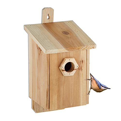 Relaxdays Nistkasten für Vögel, 32 mm Einflugloch, Vogelhaus zum Aufhängen, unbehandeltes Holz, HBT: 32x16x17 cm, Natur, flugloch
