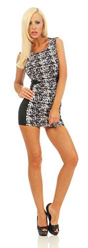 Fashion4Young 5663 ärmelloses Minikleid im Etui-Look Kleid Dress Sommerkleid Partykleid Schwarz (Weiss-Schwarz, M=38=2)