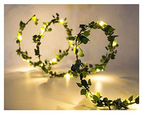XIANGLIOOD 10 Meter Blume Blatt Rattan Girlande Batteriebetriebene Kupfer LED Lichterketten Für Hochzeitsdekoration Party Event