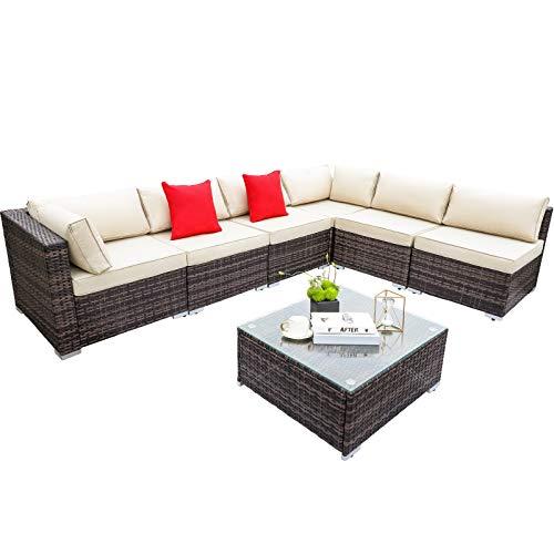 GARTIO 7 Pcs Patio Furniture Set, PE Wicker Sectional Sofa, Manual Rattan Conversation Set, All-Weather Seating Group W/Coffee Table & 3.3'' Cushions, Outdoor Backyard Porch Garden Balcony Poolside