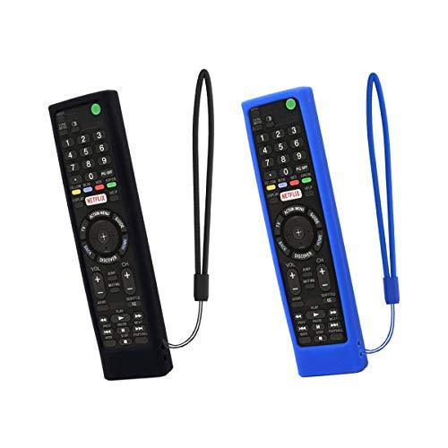 SIKAI CASE 2-Pack Silicone Cover Custodia Compatibile con Sony Bravia TV Voice Telecomando RMF-TX100U RMF-TX300U RMF-TX200U, Custodia in Silicone Morbida Antiscivolo Leggera Protezione (Nero-Blu)