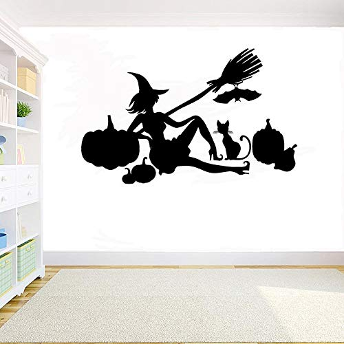 yaonuli Halloween heks bezem muur sticker halloween tovenaar vleermuis muur sticker kamer decoratie Vinyl venster Sticker 162X102cm