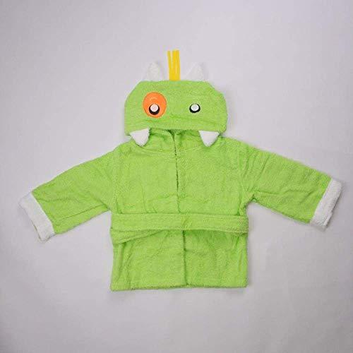 WOHAO Les Serviettes de Bain pour Enfants 2pcs Mignon Coton Enfants Fille Poncho avec Capuche de Bain de Plage Bain bébé Serviette Peignoir Porter débarbouillettes, Noir (Color : Green)