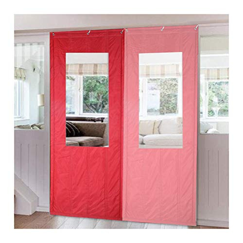 MAHFEI Thermal Insulated Door Curtain, Winter Thicken Cotton Curtains with Transparent Window Soundproof Door Covers Windproof Noise Reduction for Living Room Waterproof Oxford Panel
