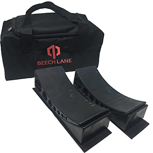 Beech Lane Camper Leveler 2 Pack with Carrying Bag - Precise Camper Leveling, Includes Two Curved Levelers, Two Chocks, Two Rubber Grip Mats, and A Carrying Bag