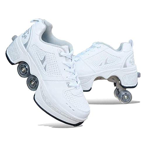 skates 2-in-1 Multi-Purpose Shoes, Deformed Shoes Ice Pulley Shoes Children Adult Roller Skating Roller Outdoor Sports Skating Travel Best Choice (Color : 42)