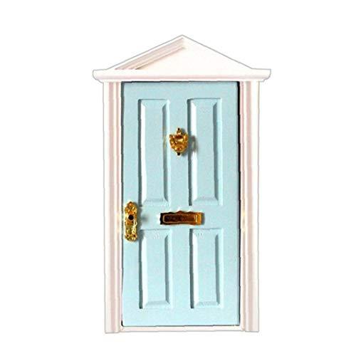 tJexePYK Mini Puerta de Madera, Muebles de Madera Miniatura de Apertura de la Puerta Modelo Hada Puerta con Pretend Accesorios Playset