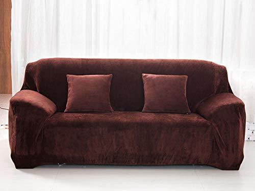 Funda de sofá, Felpa de Color sólido, Elasticidad Engrosada, Funda Protectora Universal segmentada, Antideslizante, Resistente al Desgaste, fácil de Limpiar-Coffee_1seater 90-140cm
