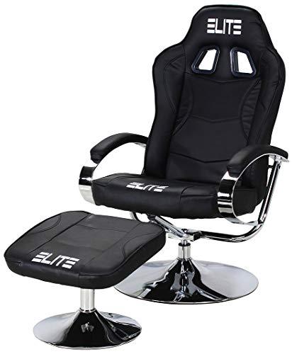 ECS ELITEGROUP Elite Deluxe Gaming Sessel MG-300 - Bürostuhl - Gamingstuhl - Streamingstuhl - Drehstuhl - Ergonomisch - Racingoptik - Fußhocker - Chefsessel - Racing (Schwarz/Chrom)