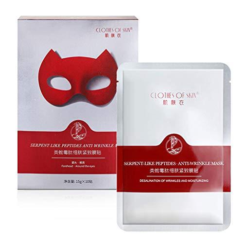 planuuik 10 Stück Anti-Falten-Stirn-Augen-Gesichts-Pads Feuchtigkeitsspendender Anti-Aging-Gesichtsaufkleber