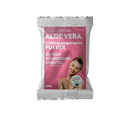 Capillum AMOVE Aloe Vera 200g - Dusch-Haarentfernung Pulver für effektive Haarentfernung und Hautbefeuchtung für empfindliche Haut, Schmerzfreie Enthaarung im Intimbereich