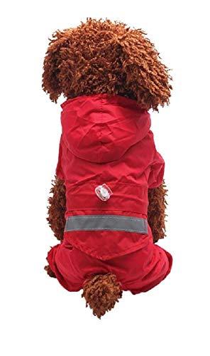 Ducomi Animal House – Regenmantel für Hunde mit Druckknopfverschluss und Kapuze, mit Reflektorband