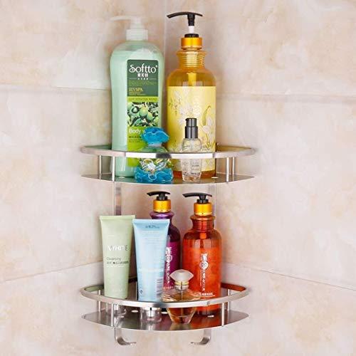 Yxsd Estantes de baño, Estante de vidrio con toallero Caddy Estante para ducha de acero inoxidable cesta