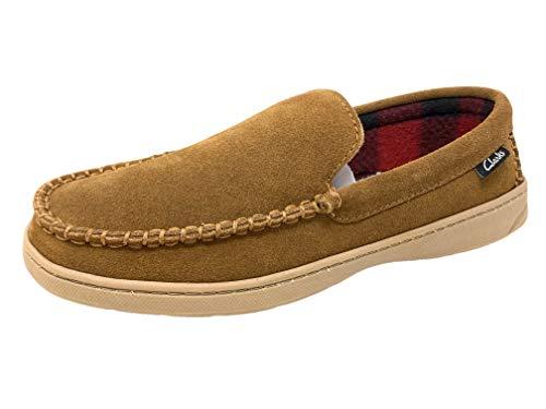 Clarks Men's Freddie Suede Moccasin House Shoe Indoor & Outdoor Slip Resistant Flexible Outsole Slipper (10 Medium US, Light Brown)