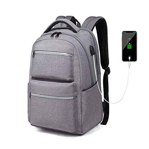 Men Business Laptop Backpack 15.6 Inch Travel Rucksack with USB Charging Durable Waterproof Work Computer Backpack College/High School Bags for Women/Boys,Light Grey