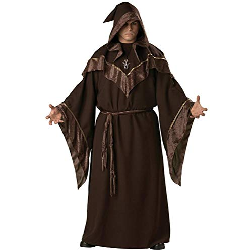 Herren Zauberer Priesterkostüm dunkel Zauberer Robe Mönch Robe Religiöse Pate Zauberer Kostüm Halloween Teufel Hexe Cosplay