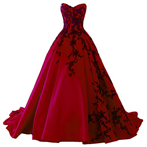 Beaded Gothic Black Lace Long Ball Gown Satin Prom Evening Dress Wine Red US 10 (Apparel)