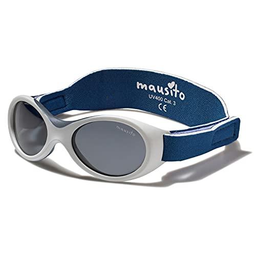 Mausito® Gafas de sol bebé niña & niño 0 Meses-1,5 años I FLEXIBLES gafas de sol para bebés con suave soporte para la nariz I 100% PROTECCIÓN UV I Gafas de sol para niños con BANDA AJUSTABLE (Blanco)
