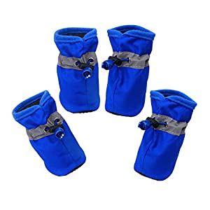 YAODHAOD Dog Boots Paw Protector, Anti-Slip Dog Shoes,These Comfortable Soft-Soled Dog Shoes are with Reflective Straps, for Small Dog (6, Blue)
