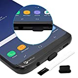 PortPlugs USB C Dust Plugs (10 Pack), Compatible with Samsung Galaxy s21,s20, Plus, Ultra, Note 10, Pixel, MacBook, Any Type C Charging Port, Includes Cleaning Brush (Black)