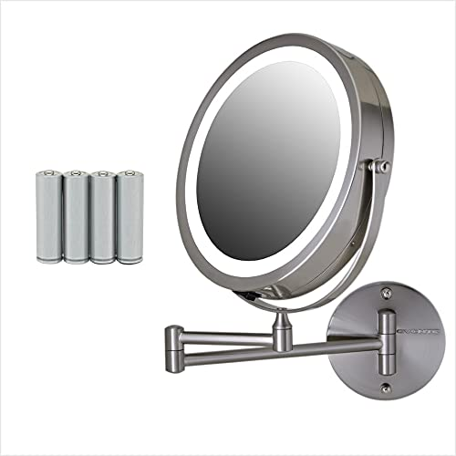 Ovente Lighted Wall Mount Makeup Mirror 8.5 Inch 1X 10X 360 Degree Double Sided, Round LED Magnifier, Extending & Retractable Arm, Compact & Cordless, Battery Powered, Nickel Brushed MFW85BR1X10X