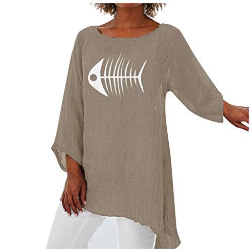 Inawayls Leinenbluse für Damen,Langarm Drucken Oberteil Casual V-Ausschnitt Tops Tunika T-Shirt Lose Baumwolle Große Größen Leinenhemd Bluse Oberseiten