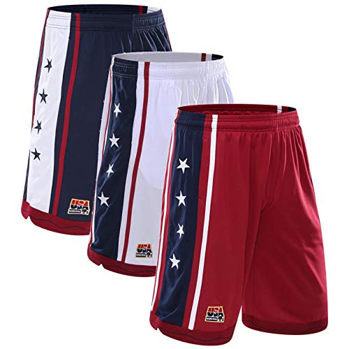 lfly Men's Shorts Active Performance Pants With Pockets,USA Dream Team Basketball Loose-Fit Training Running Shorts(M-3XL) All-M