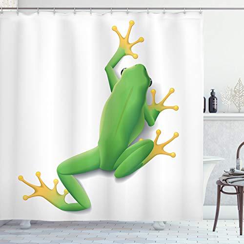 ABAKUHAUS Frosch Duschvorhang, Tropischer Frosch in der Natur, mit 12 Ringe Set Wasserdicht Stielvoll Modern Farbfest & Schimmel Resistent, 175x200 cm, Gelb Weiß Grün