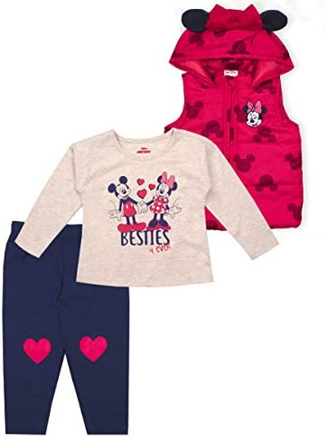 Disney 3 Piece Minnie Mouse Clothes for Girls and Toddlers Shirt Vest and Pants Red 2T product image