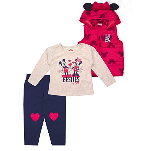 Disney 3-Piece Minnie Mouse Clothes for Girls and Toddlers, Shirt, Vest, and Pants, Red- 2T