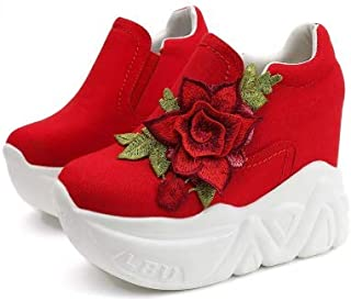 VIKSON Wedges High Heels Casual slip on platform shoes decoration with red flowers for girls size 6 (EU-38)